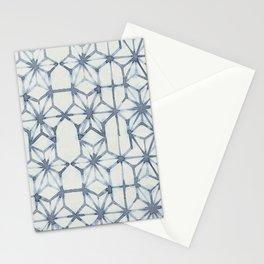 Simply Shibori Stars in Indigo Blue on Lunar Gray Stationery Cards
