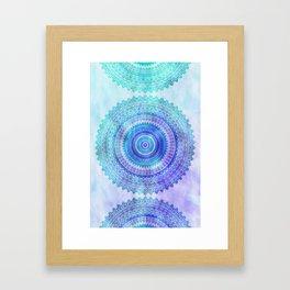 Blue Turquoise And Purple Watercolor Mandala Art Framed Art Print