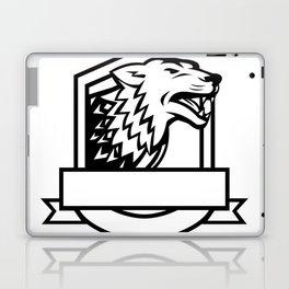 Wolf Growling Crest Retro Laptop & iPad Skin