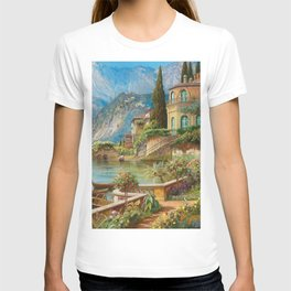 Lakeside Flower Garden Landscape Painting, Lake Como, Italy T-shirt