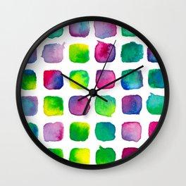 Watercolor Squares Wall Clock