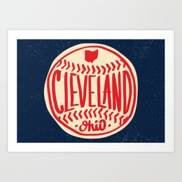 Hand Drawn Baseball for Cleveland Ohio with custom Lettering Art Print