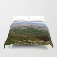 colombia Duvet Covers featuring Mount Monserrate, with a 10,000 ft view of Bogota Colombia by ANoelleJay