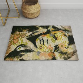 Graphic Floral Face Rug