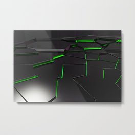 Black fractured surface with green glowing lines Metal Print