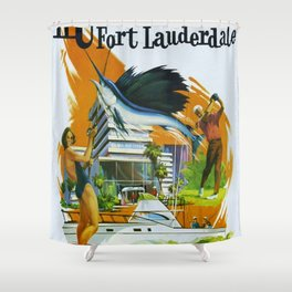 Vintage Fort Lauderdale - Miami, Florida Delta Airlines Advertisement Poster Shower Curtain