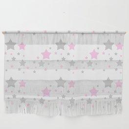 Pink Grey Gray Stars Wall Hanging