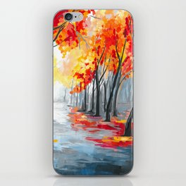 Fall / Autumn Landscape - Rainy Tree, Changing Leaves Painting iPhone Skin