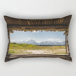 A Cabin and the Tetons Rectangular Pillow