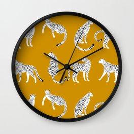 Tropical Print Yellow Cheetah  Wall Clock