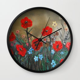 Impasto Red Poppy Love Garden Wall Clock