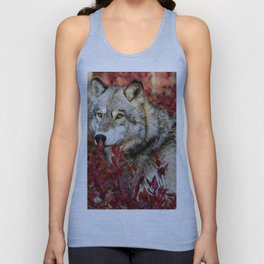 Wolf in red foliage Unisex Tank Top