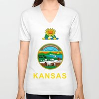 kansas V-neck T-shirts featuring KANSAS by changsaw