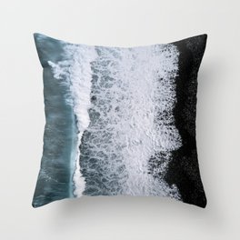 Aerial of a Black Sand Beach with Waves - Oceanscape Throw Pillow
