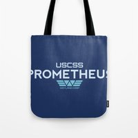 prometheus Tote Bags featuring USCSS Prometheus - Crew Member Shirt by Artpunk101