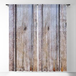 Old Fence Planks With Rust, Wood Decor Blackout Curtain