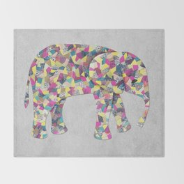 Elephant Collage in Gray Hot Pink Teal and Yellow Throw Blanket