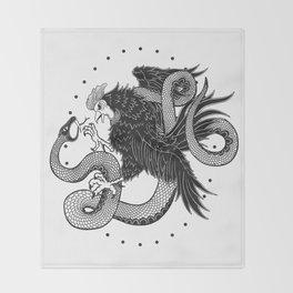 Rooster vs Snake Throw Blanket