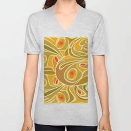 Rooster pattern in Yellow Goldenrod Unisex V-Neck