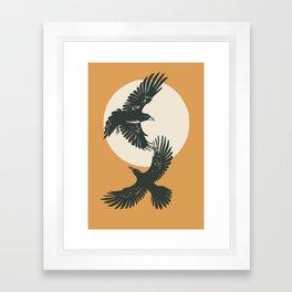 Raven sunset Framed Art Print