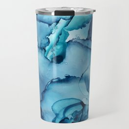 The Blue Abyss - Alcohol Ink Painting Travel Mug