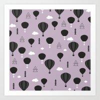 Vintage hot air balloon dreamy sky scandinavian style Art Print