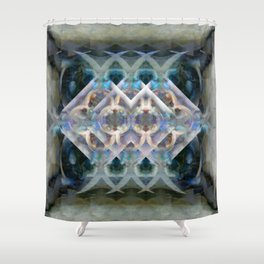 Abstract Multi-Colored Fractal (Night) Shower Curtain