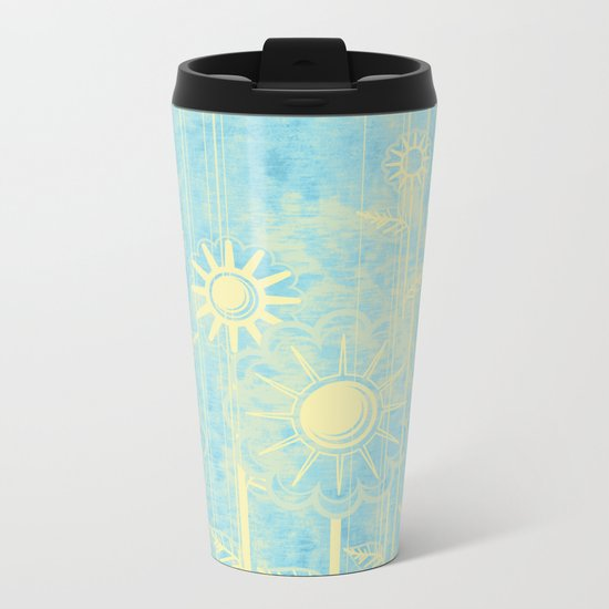 retro flowers in blue and yellow Metal Travel Mug