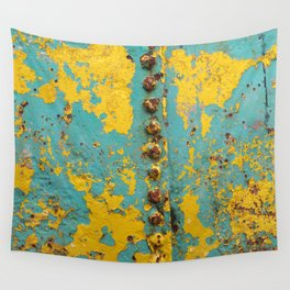 yellow and blue worn paint and rust texture Wall Tapestry