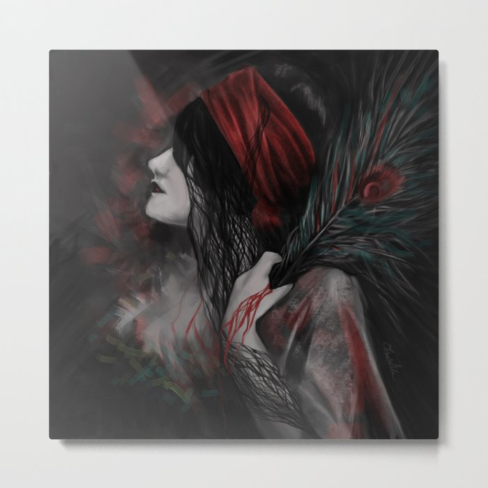 Artwork of Woman with Feather Metal Print