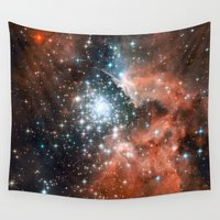 nasa Wall Tapestries featuring Bright nebula stars galaxy hipster geek cool space Nasa orange nebulae photograph by iGallery