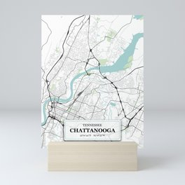 Chattanooga, Tennessee City Map with GPS Coordinates Mini Art Print