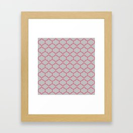 Grey and Red Lattice Framed Art Print