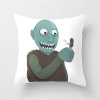 eat Throw Pillows featuring eat by yogiobluda