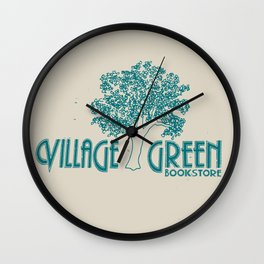 Village Green Bookstore Green on Tan Wall Clock