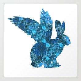 Blue Aqua Turquoise Flying Rabbit Print Art Print