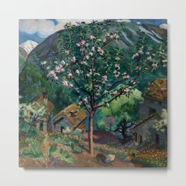 Apple Tree and Daffodils in Bloom alpine landscape painting by Nikolai Astrup Metal Print