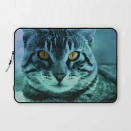 Green Cat Watercolor Laptop Sleeve