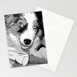 australian shepherd aussie dog puppy vector art black white Stationery Cards