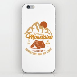 Vintage Retro Rocky Mountains Hiking Camping Gift iPhone Skin