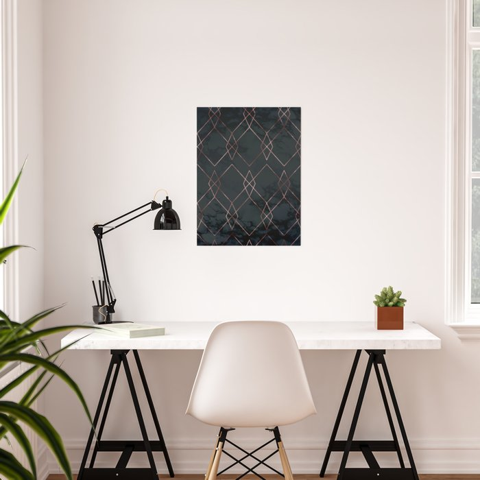 Modern Deco Rose Gold and Marble Geometric Dark Poster