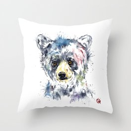 Baby Black Bear Watercolor Painting Throw Pillow