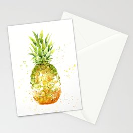Pineapple Watercolor Abstract Fruit Painting Stationery Cards