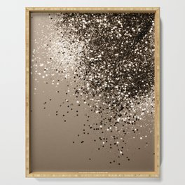 Sparkling Sepia Lady Glitter #1 #shiny #decor #art #society6 Serving Tray