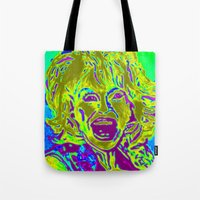 """dolly parton Tote Bags featuring """"Dolly Halfway"""" by Eat, Paint, Love. Pattiann Withapea"""