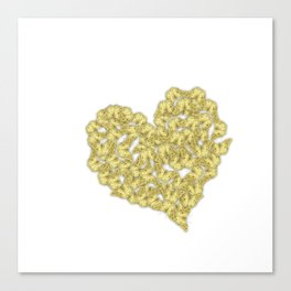 Gold butterflies in heart shape on white Canvas Print