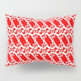 Strict pattern of white squiggles and red ropes on a monochrome background. Pillow Sham
