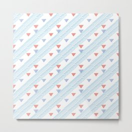 Modern coral blue watercolor handdrawn triangles chevron Metal Print
