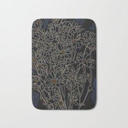 Daisy Chrysanthemum,  black Bath Mat