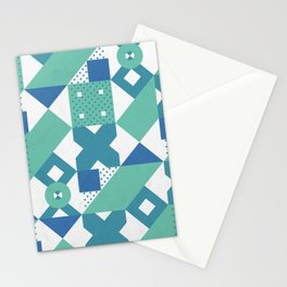 Geometric Acqua Dots Stationery Cards